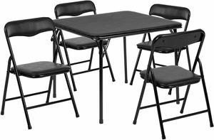 1. Flash Furniture Kids Folding Table and Chair Set, 5 Piece, Black