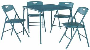 3. Cosco Folding Table and Chair Set, 5-Piece, Teal