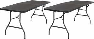 4. Cosco Deluxe Fold-in-Half Folding Table, 2 Pack