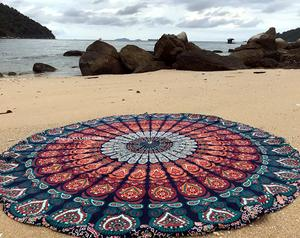 4. raajsee Round Beach Tapestry Mandala Throw, Boho Blanket