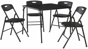 6. Cosco Folding Table and Chair Set, 5-Piece, Black