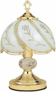 6. Ore International K313 Floral Glass Touch White Lamp, Brushed Gold