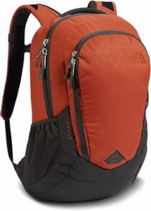 7. The North Face Vault Ketchup Red Emboss and Asphalt Grey Backpack,