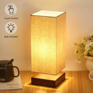 7. Touch Control Table Bedside Lamp 3 Way Touch Modern Desk Nightstand Lamp Dimmable with Square Fabric