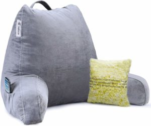 #10. Vekkia Premium Soft Bed Rest & Reading Pillow with, Support Arms, Memory Foam Pockets