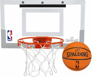 #3. Spalding Over-The-Door NBA Slam Jam Mini Basketball Hoop