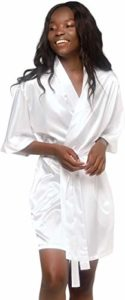 #3.Turquaz Linen Satin Kimono Bridesmaids Robe (Large, White)