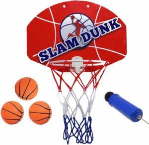 "#6. Slam Dunk Mini Basketball Plastic Hoop Set - Over The Door 14 X 10"" Backboard with 3 Balls"