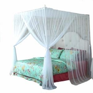 7. Mengersi 4 Corner Bed Canopy Curtain Bed Frame