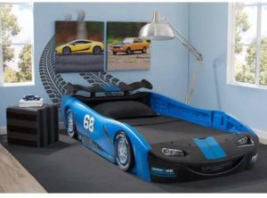 8. Delta Children Turbo Race Car Twin Bed