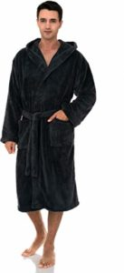 #9. TowelSelections Plush Fleece Hooded Men's Robe, Spa Bathrobe