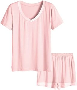 1. Latuza Women's V-Neck Sleepwear Short Sleeve Pajama Set(2)