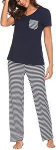 4. Hotouch Womens V-Neck Short Sleeve Pajamas Pants(1)