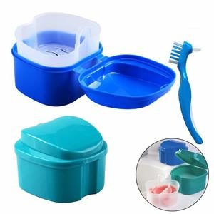 5. Hatisan False Teeth Storage Box with Cleaning Brushes (2Pcs)