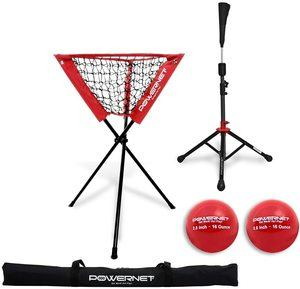 7. PowerNet Coach's Bundle Ball Caddy + Tee + 2 Pack Heavy Weighted Training Balls