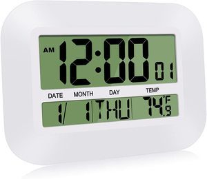 #1. HeQiao Silent Digital Desk Wall Clock Large LCD