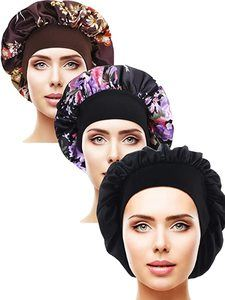 11. Satin Sleep Cap Elastic Wide Band Hat