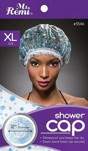 4. Shower Cap - Blue Dot Pattern