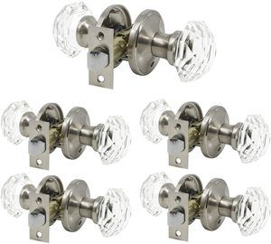 #5. 5 Pack Keyless Crystal Glass Privacy Door Knobs