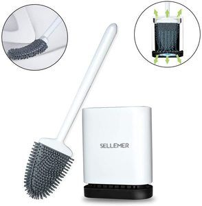 10. Sellemer Bathroom Toilet Brush and Holder Set