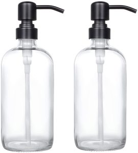 10. Thick Clear Glass Pint Jar Soap Dispenser, 2 Pack