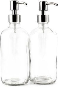 2. 16-Ounce Clear Glass Soap Dispenser (2 Pack)