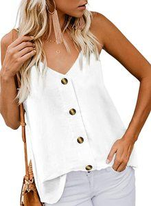 #3. BLENCOT Women's V Neck Strappy Button down Tank