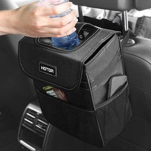 7. HOTOR Car Trash Can with Storage Pockets and Lid