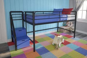 #8. DHP Junior Black Twin Metal Loft Bed with Blue Steps