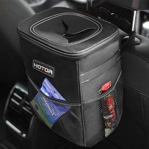 9. HOTOR Car Trash Can with Storage Pockets and Lid
