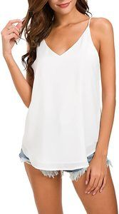 #9. Women's V-Neck White Chiffon Spaghetti Strap Top Cami