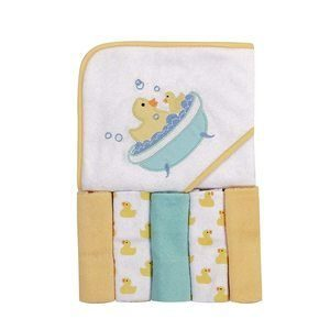 #2 Luvable Friends Unisex Baby Hooded Towel with Five Washcloths
