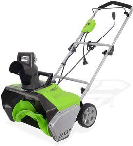 9. Greenworks 20-Inch Corded Snow Thrower