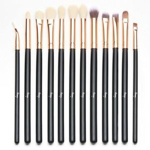 1. Qivange Eye Makeup Brushes Set (12pcs, Black with Rose Gold)