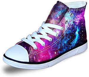10. Fashion Galaxy Print High Top Lace Up Canvas Shoes