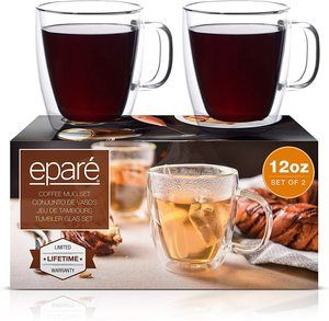 5. Eparé Coffee Mugs - Clear Glass Double Wall Cup Set