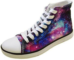 6. FOR U DESIGNS Shiny Glitter Unisex High Top Galaxy Shoes