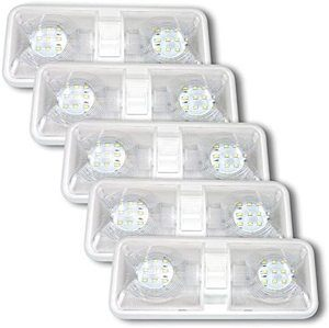 9. Leisure LED RV LED Ceiling Double Dome Light Fixture, 5 Pack