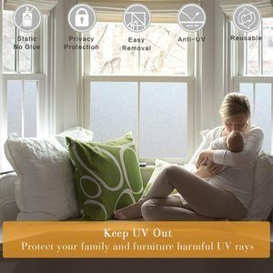 2. Coavas Window Film Non-Adhesive Film Privacy Window Sticker