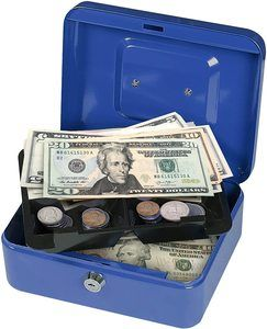 5. First Alert 1036620 Cash Box, 0.1 cu. ft, Blue