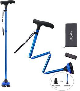 6. BigAlex Folding Walking Cane with LED Light