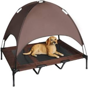 6. Niubya 48 Inches XLarge Elevated Dog Cot with Canopy