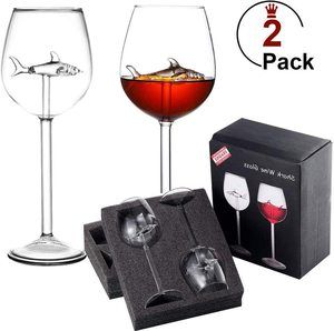 9. Shark Wine Glasses, Set of 2 Red Wine Glass
