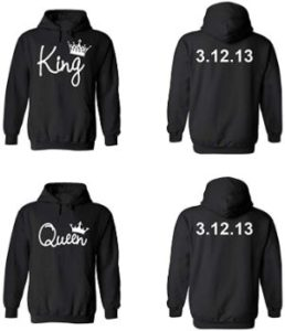 #1 King Queen Couple Hoodies, Custom Dates