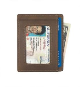 10. Andar Leather Slim Wallet with ID Window
