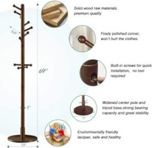 #2. Vlush Sturdy Coat Rack Stand, Wooden, Entryway Hall Tree