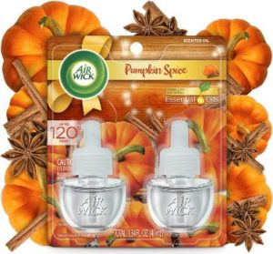 #4. Air Wick Pluga-in Pumpkin Spice Scented Oil 2 Refills