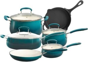#4. The Pioneer Woman Classic Belly 10-Piece Cookware Set