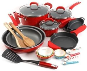 #5. The Pioneer Woman Vintage Speckle 24-Piece Cookware