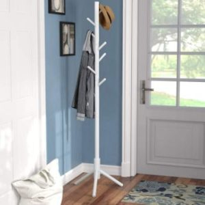 #5. Vlush Sturdy Rack Stand, Wooden Hanger for Entryway